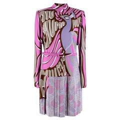 Miu Miu Purple Peacock Print Pleated Dress L 46