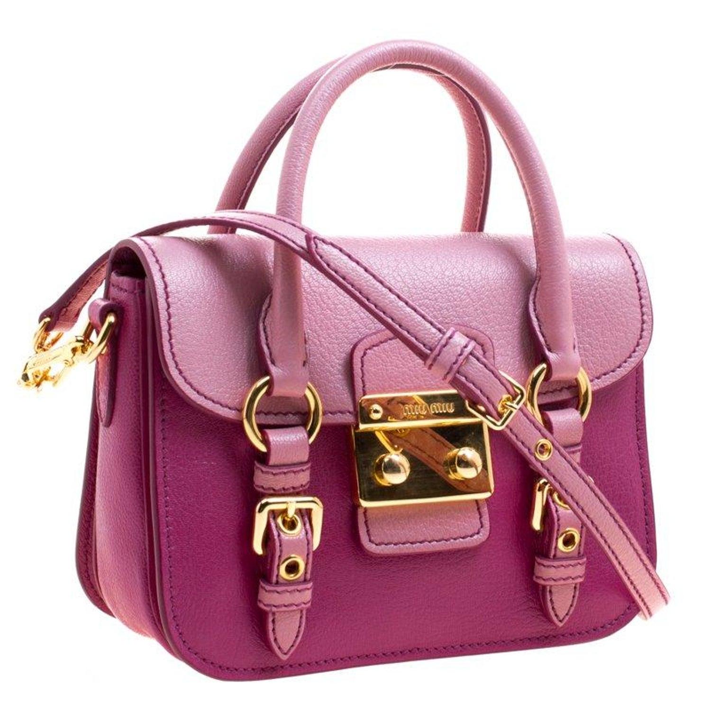 Miu Miu Purple Pink Leather Satchel For Sale at 1stdibs 3c2fd627733ea