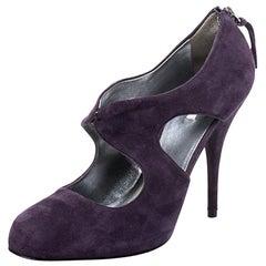 Miu Miu Purple Suede Cut Out Round Toe Pumps Size 38.5
