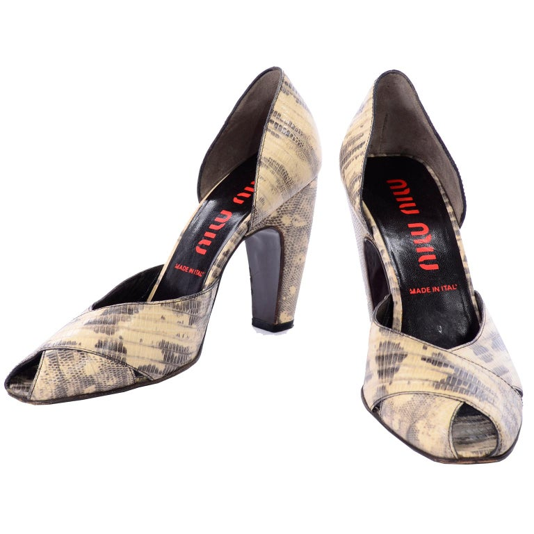 67d921a49180 Miu Miu Python Embossed Vintage Peep Toe Shoes With Chunky Curved Heels For  Sale