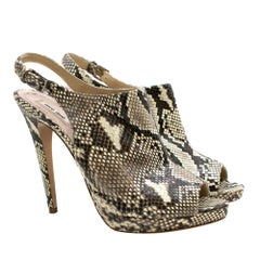 Miu Miu Python Print Leather Slingback Sandals SIZE 42