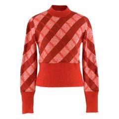Miu Miu Red Check Mohair Crop Knit Sweater SIZE 40 IT