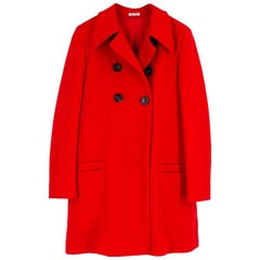 Miu Miu Red Double Breasted Wool Coat - Size US 8