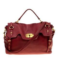 Miu Miu Red Leather East/West Top Handle Shoulder Bag