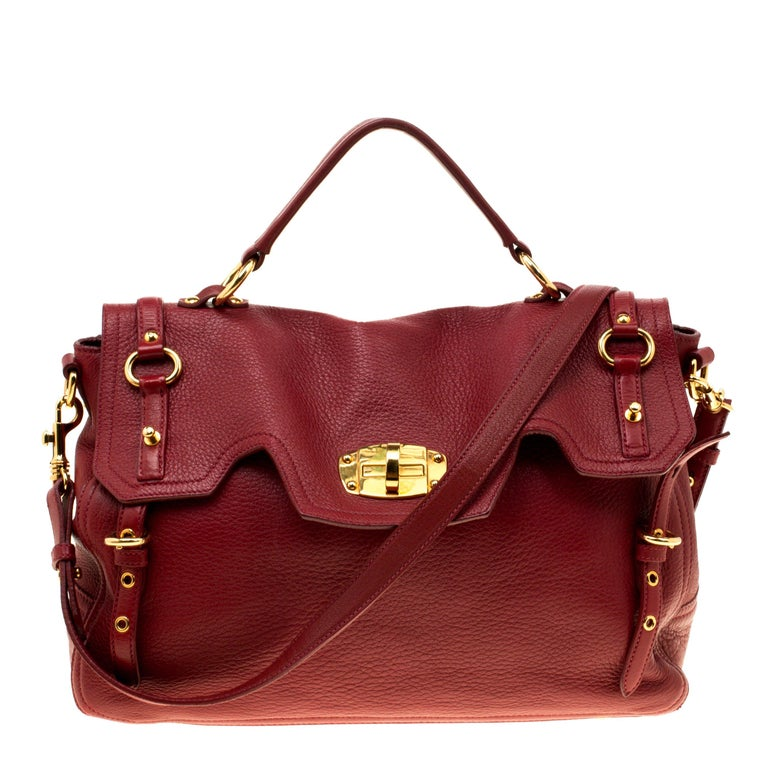 Miu Miu Red Leather East West Top Handle Shoulder Bag For Sale at ... 47e0031e36020