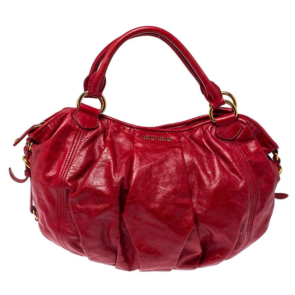 Miu Miu Red Leather Gathered Hobo