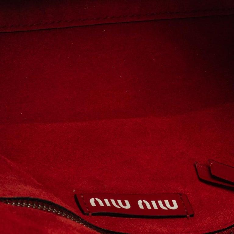 Miu Miu Red Leather Grace Shoulder Bag For Sale 3