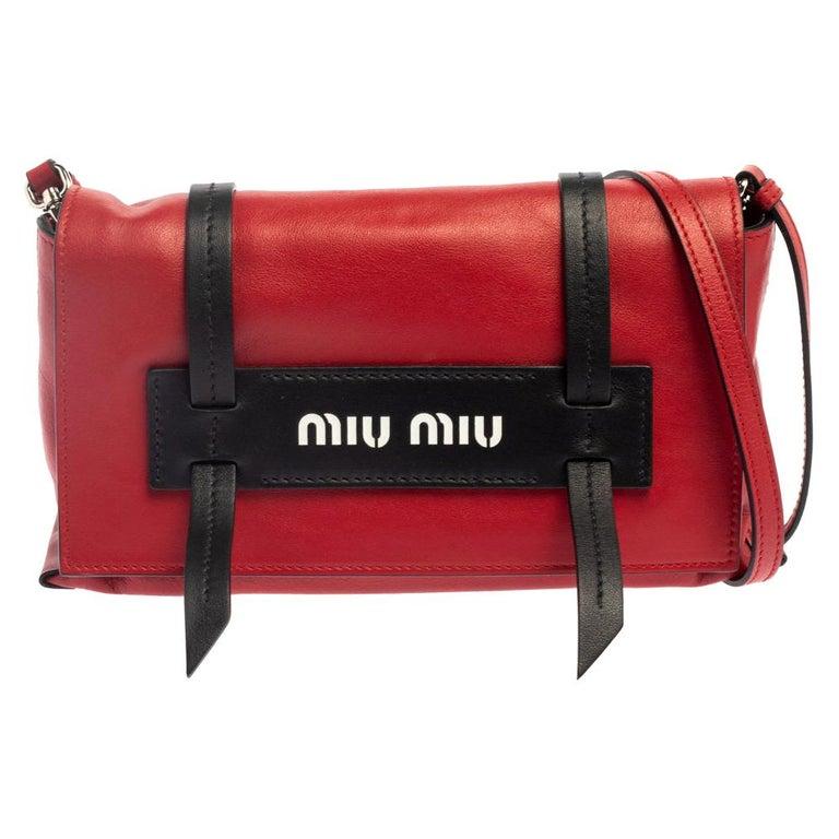 Miu Miu Red Leather Grace Shoulder Bag For Sale