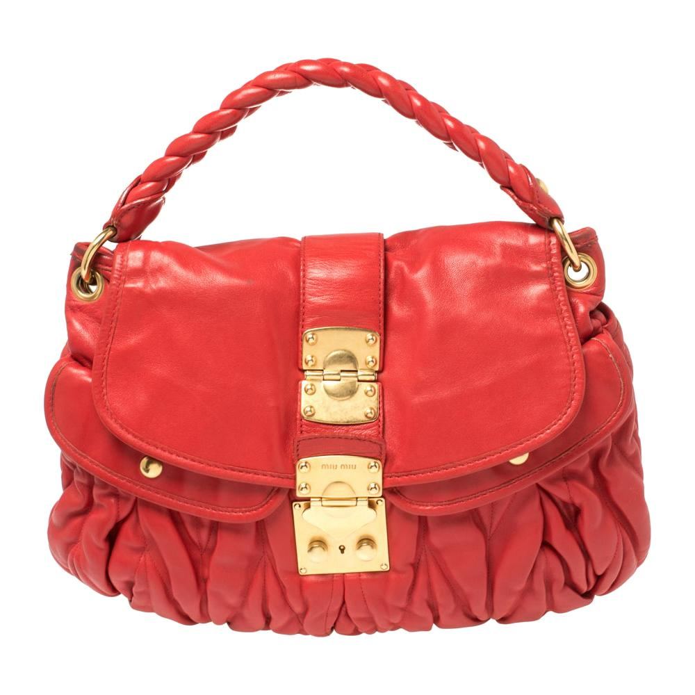 Miu Miu Red Matelasse Lux Leather Coffer Hobo