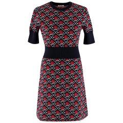Miu Miu Red & Navy Wool Knit Dress SIZE 40 IT