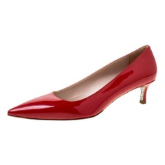 Miu Miu Red Patent Leather Glitter Sole Kitten Heel Pumps Size 37.5