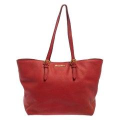 Miu Miu Red Pebbled Leather Shopper Tote
