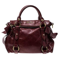 Miu Miu Red Vitello Lux Leather Bow Top Handle Bag
