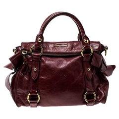 Miu Miu Red Vitello Lux Leather Bow Top Handle Bag