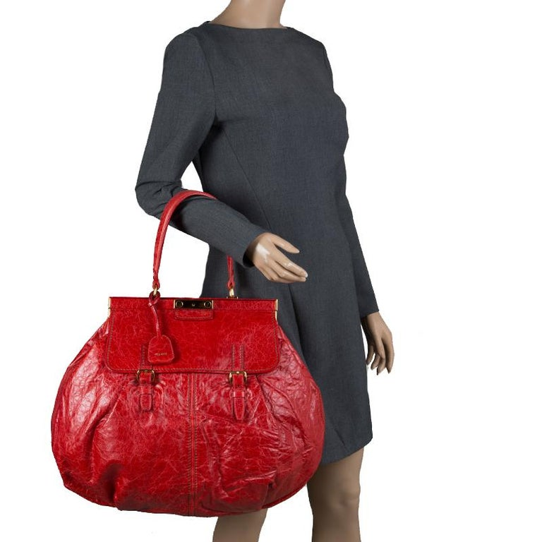 121c5355b22 Miu Miu Red Vitello Lux Leather Frame Top Handle Bag In Good Condition For Sale  In