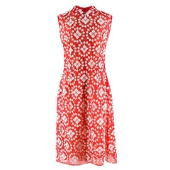 Miu Miu Red & White Floral Embroidered Sheer Dress S 42