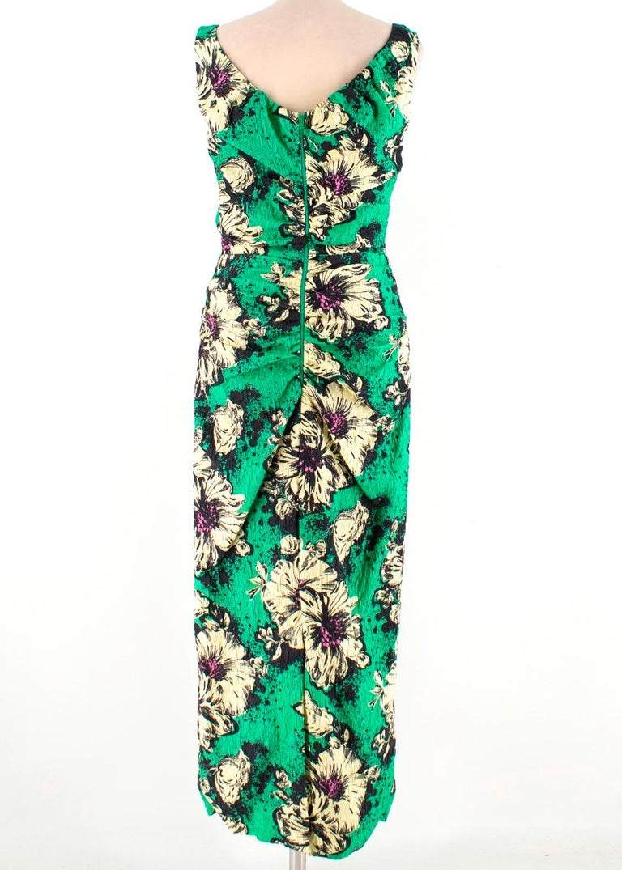 Blue Miu Miu Ruched floral-print silk-blend cloqué midi dress M 40 For Sale