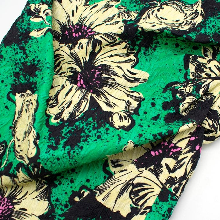Miu Miu Ruched floral-print silk-blend cloqué midi dress M 40 For Sale 1