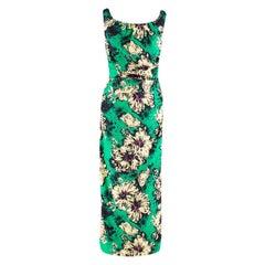 Miu Miu Ruched floral-print silk-blend cloqué midi dress M 40