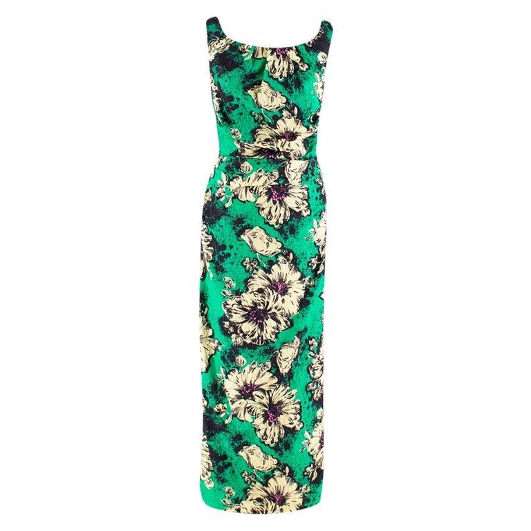 Miu Miu Ruched floral-print silk-blend cloqué midi dress M 40 For Sale