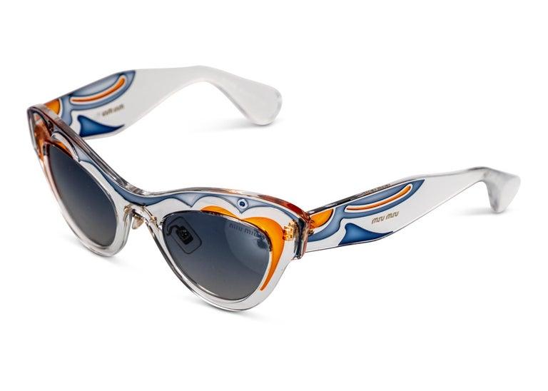 Gray Miu MIu Runway Butterfly Cat Eye Sunglasses, 2014 For Sale
