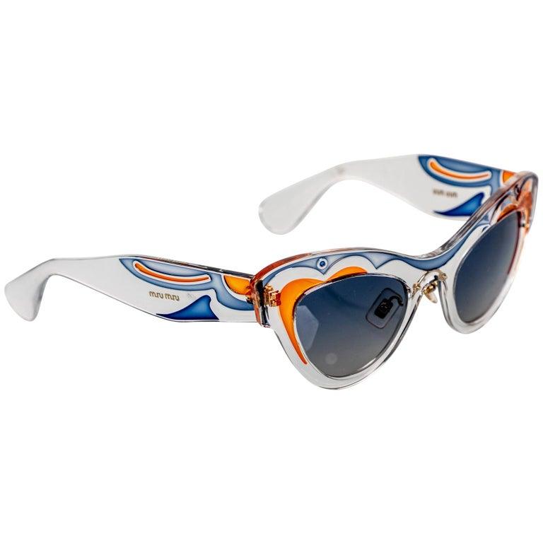 Miu MIu Runway Butterfly Cat Eye Sunglasses, 2014 For Sale