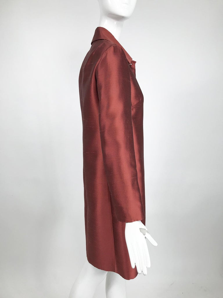 Brown Miu Miu Russet Raw Silk Princess Seam Coat For Sale