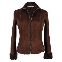 Miu Miu Shearling Vintage Jacket Rich Brown Zip Front  42 / 6