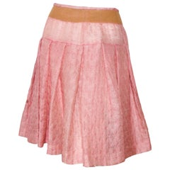 Miu Miu Silk Blend Pink Quilted Skirt Accentuated with Silver Tone Threads