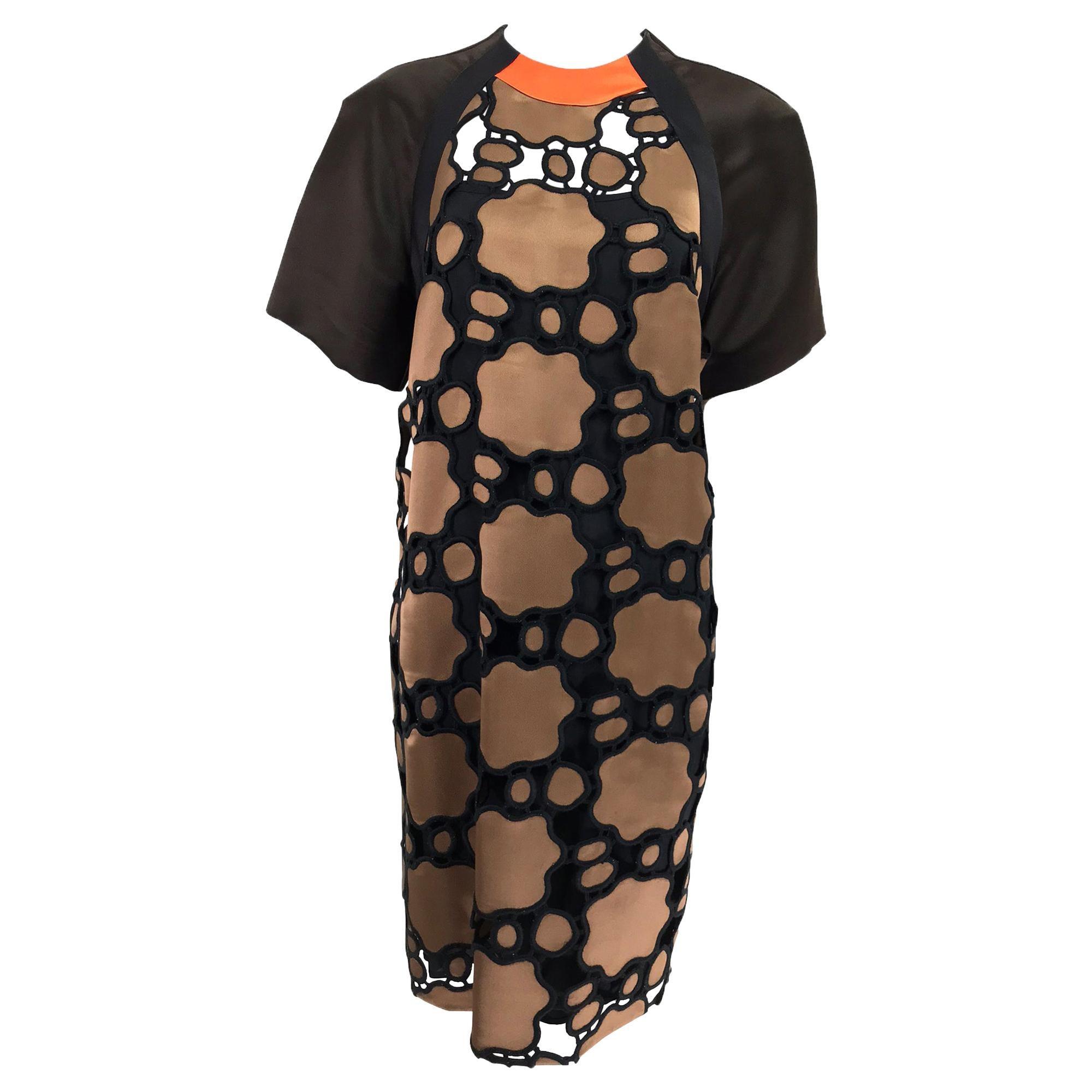 miu miu SIlk Cut Work Day Dress in Brown and Black with Orange