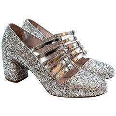 Miu Miu Silver Glitter Leather Strappy Pumps - Size 39.5