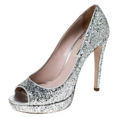 Miu Miu Silver Glitter Peep Toe Platform Pumps Size 39