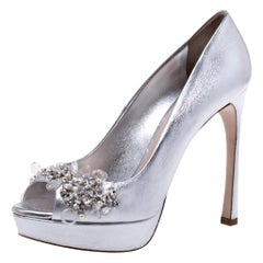 MIu MIu Silver Leather Crystal Embellished Peep Toe Platform Pumps 38.5
