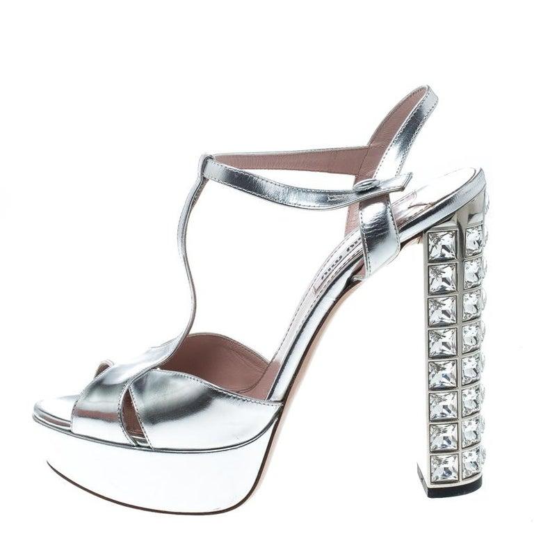 4a5bf76ecac Miu Miu Silver Leather T Strap Crystal Embellished Heel Platform Sandals  Size 38