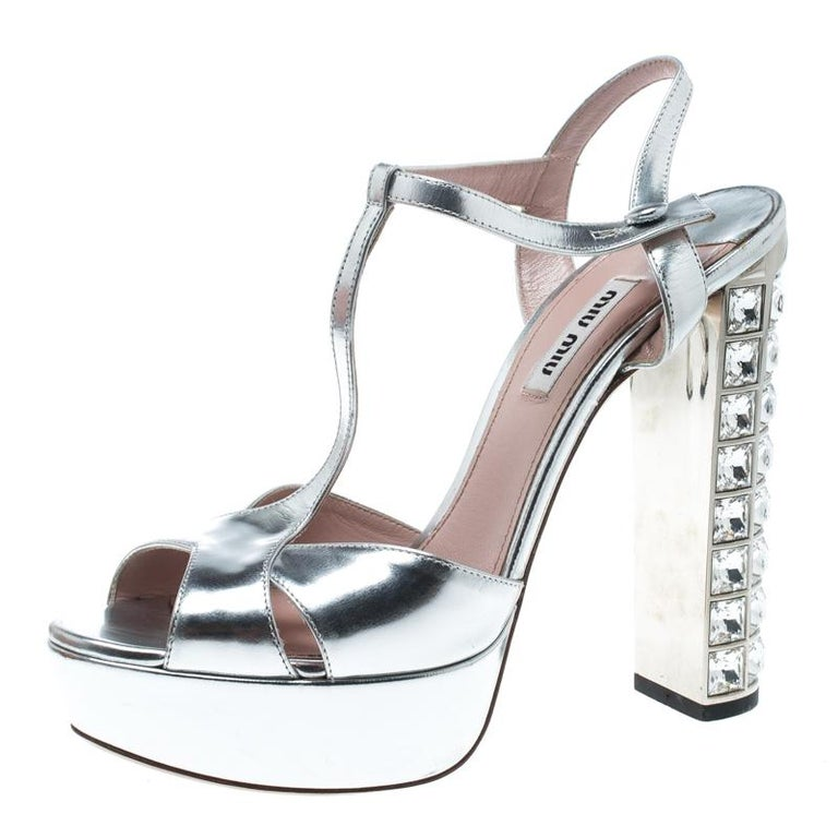 33d6a4e4a Miu Miu Silver Leather T Strap Crystal Embellished Heel Platform Sandals  Size 38 For Sale