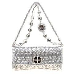 Miu Miu Silver Matelassé Leather Shoulder Bag
