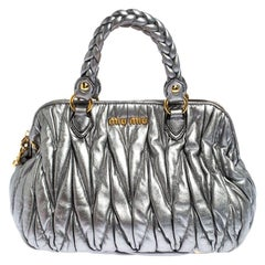 Miu Miu Silver Matelasse Leather Small Satchel