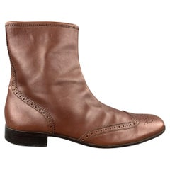 MIU MIU Size 11 Brown Perforated Leather Wingtip Boots