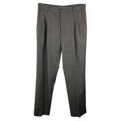 MIU MIU Size 30 Stripe Dark Gray Wool Pleated Dress Pants
