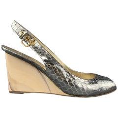MIU MIU Size 7 Silver Snake Skin Peep Toe Slingback Wedge Sandals