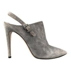 MIU MIU Size 7.5 Grey Suede Sling Back Mule Booties
