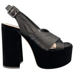 MIU MIU Size 8 Black Satin Chunky Heel Platform Sandals