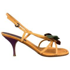 MIU MIU Size 8.5 Mustard Flower Applique Leather Slingback Sandals