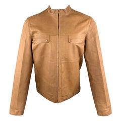 MIU MIU Size S Tan Textured Leather High Collar FLap Pocket Jacket