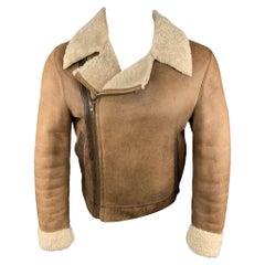 MIU MIU Size US 36 / IT 46 Tan Distressed Shearling Biker Jacket