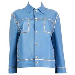 MIU MIU sky blue leather STUDDED Jacket M