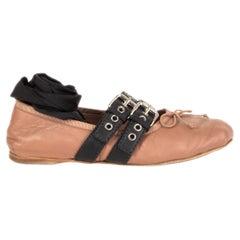 MIU MIU tan leather BUCKLE Ballet Flats Shoes 38.5