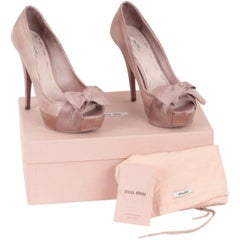 MIU MIU Taupe Leather OPEN TOE PUMPS Heels w/ BOW Size 37 1/2
