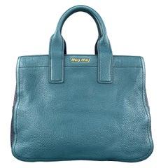 MIU MIU Teal & Blue Textured Leather Two Tone Vitello Caribo Tote Bag