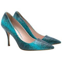 Miu Miu Teal Python-effect leather pumps	IT 37